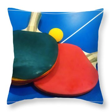 Soft Dreamy Ping-pong Bats Table Tennis Paddles Rackets On Blue Throw Pillow