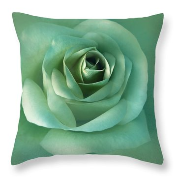 Soft Emerald Green Rose Flower Throw Pillow by Jennie Marie Schell