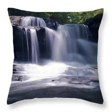 Soft Light Dunloup Falls Throw Pillow by Shelly Gunderson