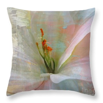 Soft Painted Lily Throw Pillow by Judy Palkimas