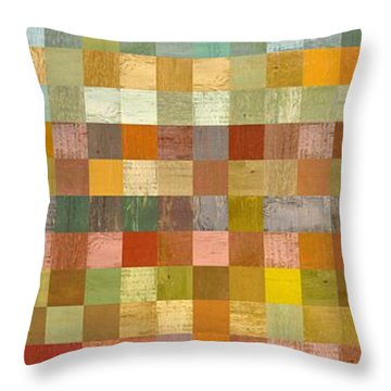 Soft Palette Rustic Wood Series Collage L Throw Pillow by Michelle Calkins