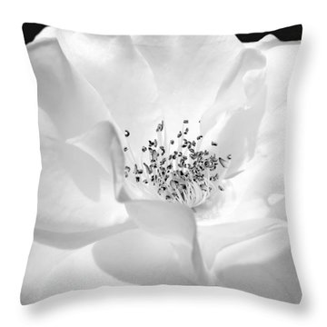 Soft Petal Rose In Black And White Throw Pillow