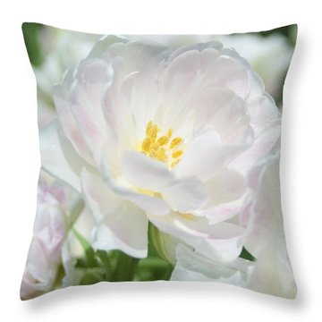 Throw Pillow featuring the photograph White Flower Is Beautiful by Haleh Mahbod