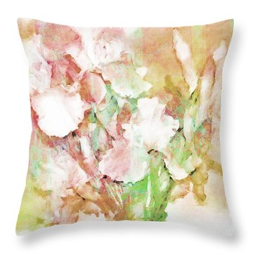 Soft Pink Iris Photo Art Throw Pillow by Debbie Portwood