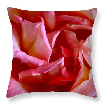 Throw Pillow featuring the photograph Soft Pink Petals Of A Rose by Janice Rae Pariza