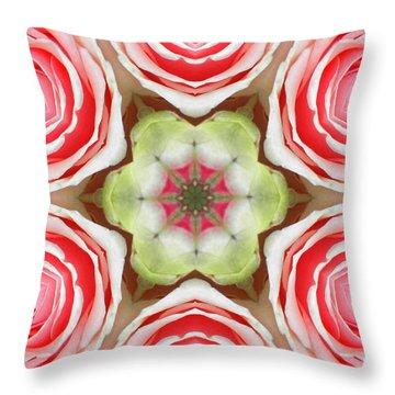 Soft Pink Rose Mandala Throw Pillow