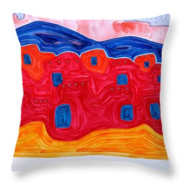 Soft Pueblo Original Painting Throw Pillow