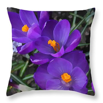 Soft Purple Crocus Throw Pillow