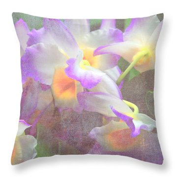 Soft Subtle Orchids Throw Pillow