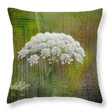 Soft Summer Rain And Queen Annes Lace Throw Pillow by Suzanne Powers