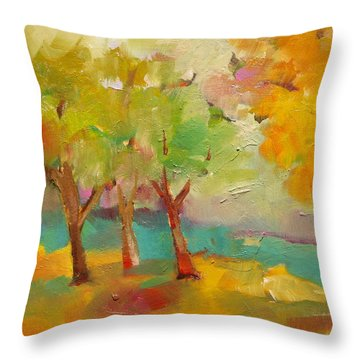 Soft Trees Throw Pillow by Michelle Abrams