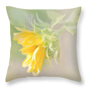 Soft Yellow Sunflower Just Starting To Bloom Throw Pillow