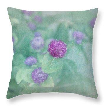 Softly Clover Throw Pillow by Kim Hojnacki