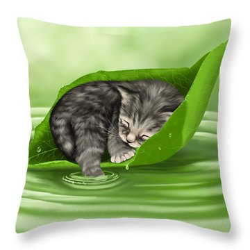 Softly Lulled Throw Pillow