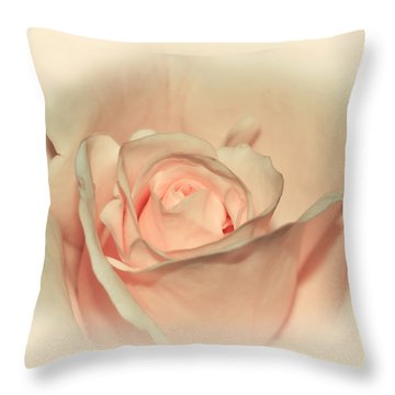 Softly Peach Throw Pillow by Kaye Menner