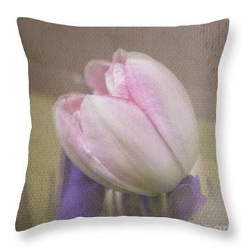 Softly Tulip Throw Pillow by Arlene Carmel