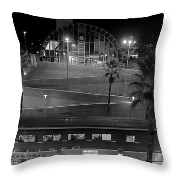 Solana Beach Train Station Throw Pillow