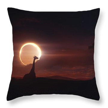 Solar Eclipse Over Africa Throw Pillow by Tobias Roetsch