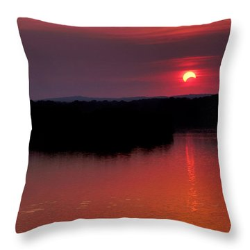 Throw Pillow featuring the photograph Solar Eclipse Sunset by Jason Politte