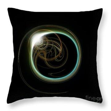 Solar Eclipse With Fractal Throw Pillow by Antony McAulay