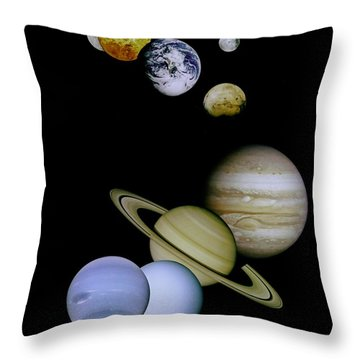 Solar System Montage Throw Pillow by Movie Poster Prints