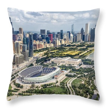 Soldier Field And Chicago Skyline Throw Pillow by Adam Romanowicz