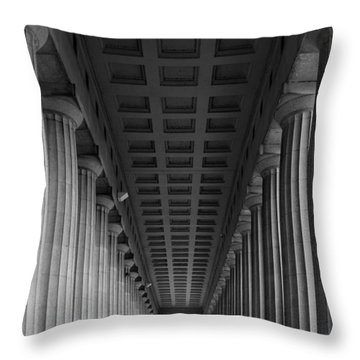 Soldier Field Colonnade Chicago B W B W Throw Pillow by Steve Gadomski