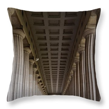 Soldier Field Colonnade Throw Pillow by Steve Gadomski