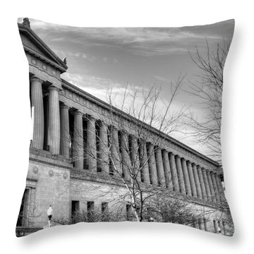 Soldier Field In Black And White Throw Pillow