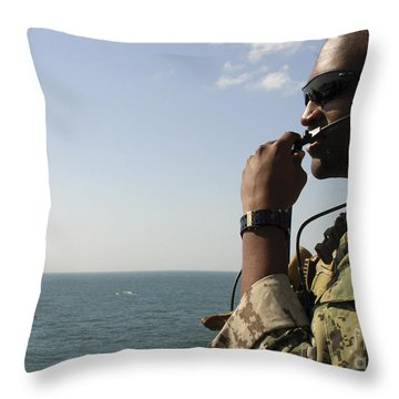 Soldier Instructs Small Boat Maneuvers Throw Pillow by Stocktrek Images