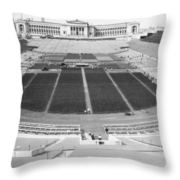 Soldier's Field Boxing Match Throw Pillow by Underwood Archives
