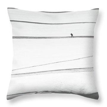 Ski Tracks Throw Pillows