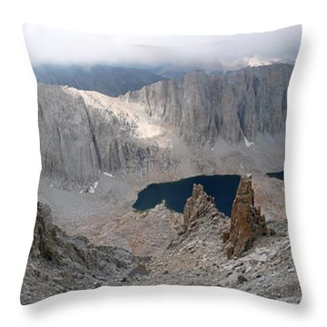 Throw Pillow featuring the photograph Solitary Hiker Panorama by Alan Socolik