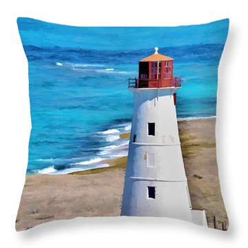 Solitary Lighthouse Throw Pillow by Pamela Blizzard