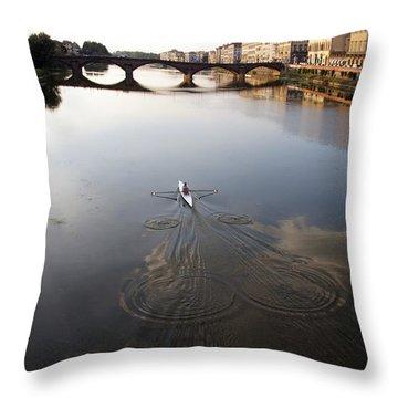 Solitary Sculler Throw Pillow by Debi Demetrion