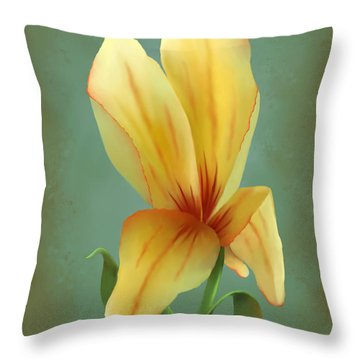 Solitary Yellow Tulip Throw Pillow by Sena Wilson