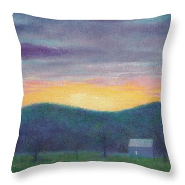 Blue Yellow Nocturne Solitary Landscape Throw Pillow