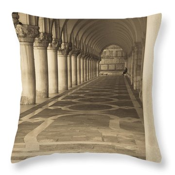 Solitude Under Palace Arches Throw Pillow