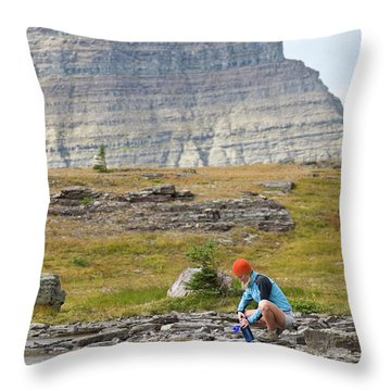 Solo Female Camper Filtering Water Throw Pillow