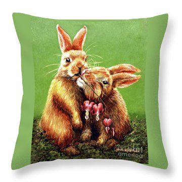 Some Bunny Loves You Throw Pillow by Linda Simon