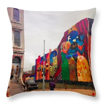 Some Color In Philly Throw Pillow