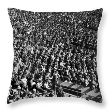 Baseball Fans At Yankee Stadium In New York   Throw Pillow by Underwood Archives