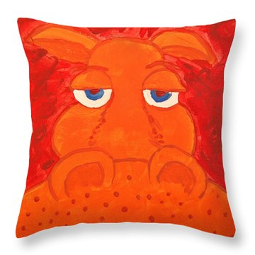Some What Annoyed Orange Hippo Throw Pillow