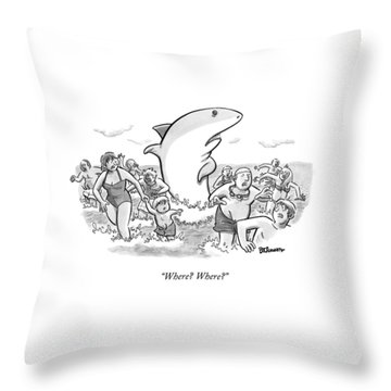 Someone Has Just Yelled Shark! At The Beach Throw Pillow