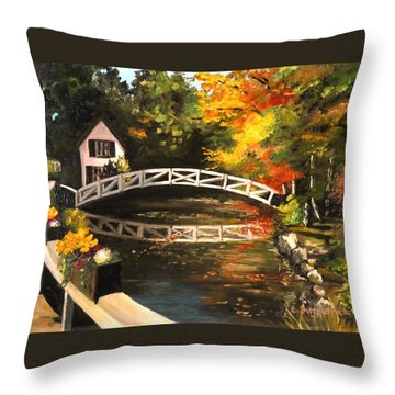 Somesville Maine Footbridge Throw Pillow by Eileen Patten Oliver