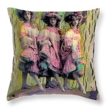 Throw Pillow featuring the mixed media Somethin' Fishy by Desiree Paquette