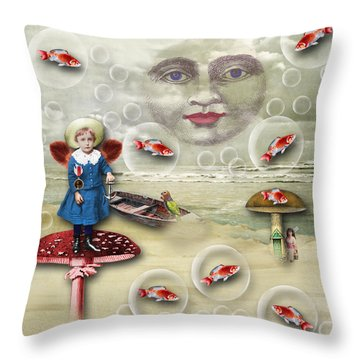 Something Fishy At The Shore Throw Pillow