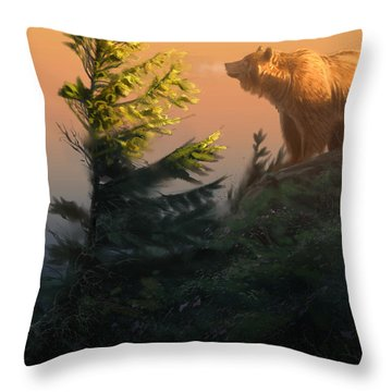Something On The Air - Grizzly Throw Pillow by Aaron Blaise
