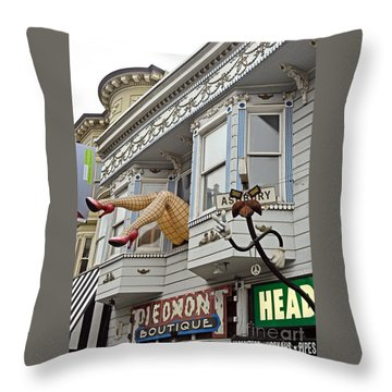 Something To Find Only The In The Haight Ashbury Throw Pillow by Jim Fitzpatrick