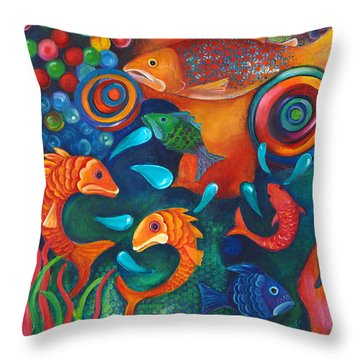 Something's Fishy Throw Pillow by Debbie McCulley